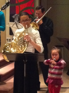 My youngest daughter playing alongside my oldest at the Christmas Eve service.